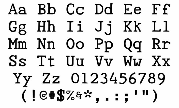 Tye Paloon Font Letters Charmap