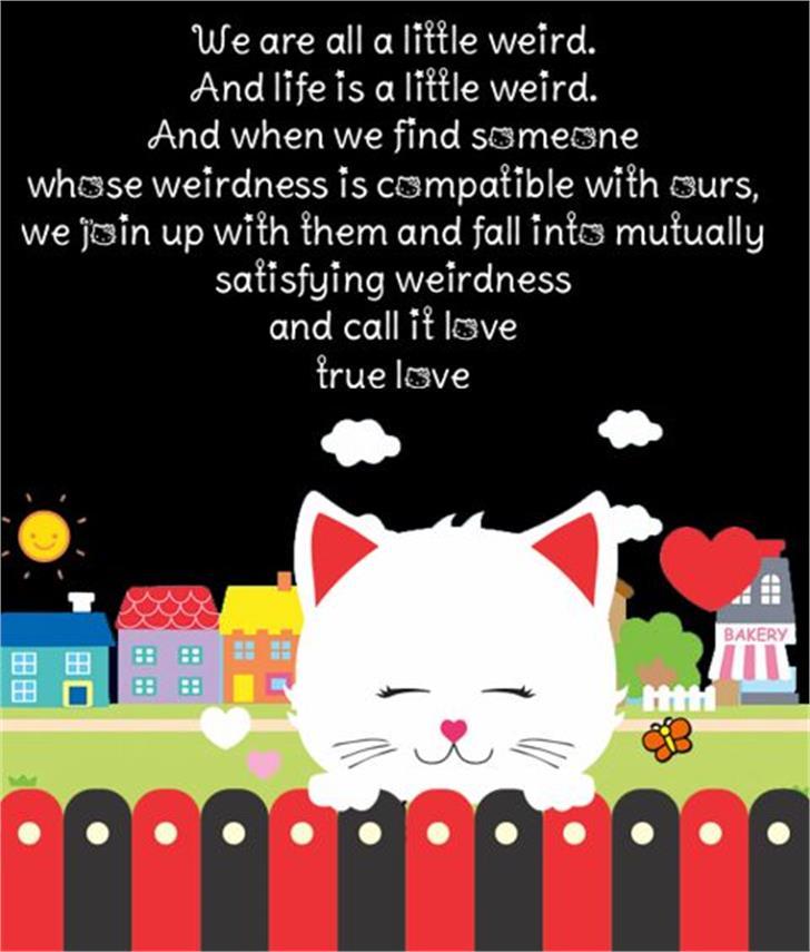 Pussy Cat Font cartoon cat