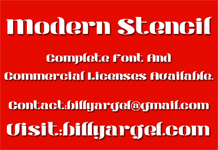 Modern Stencil Personal Use font by Billy Argel