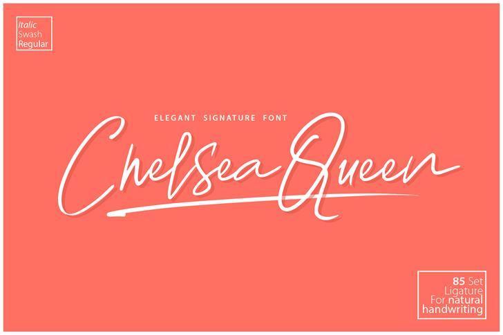 Chelsea Queen Demo Font design handwriting