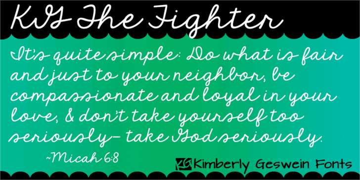 KG The Fighter Font handwriting text