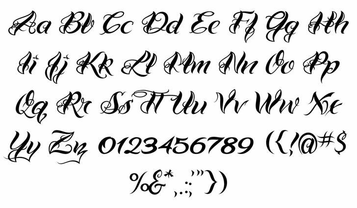 VTC-BadTattooHandOne Font Letters Charmap