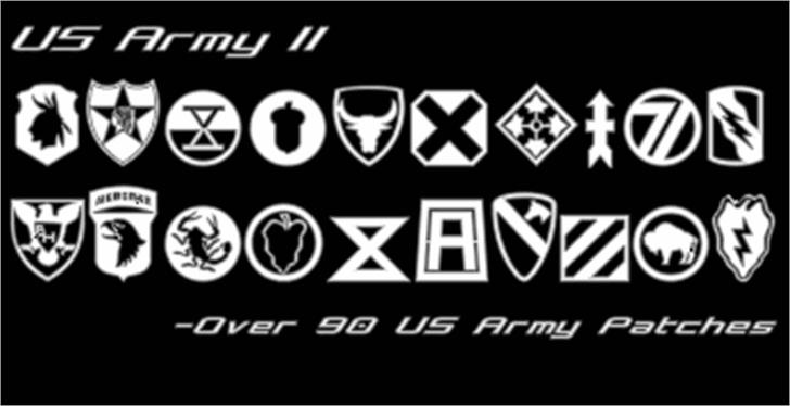 US Army II Font design screenshot