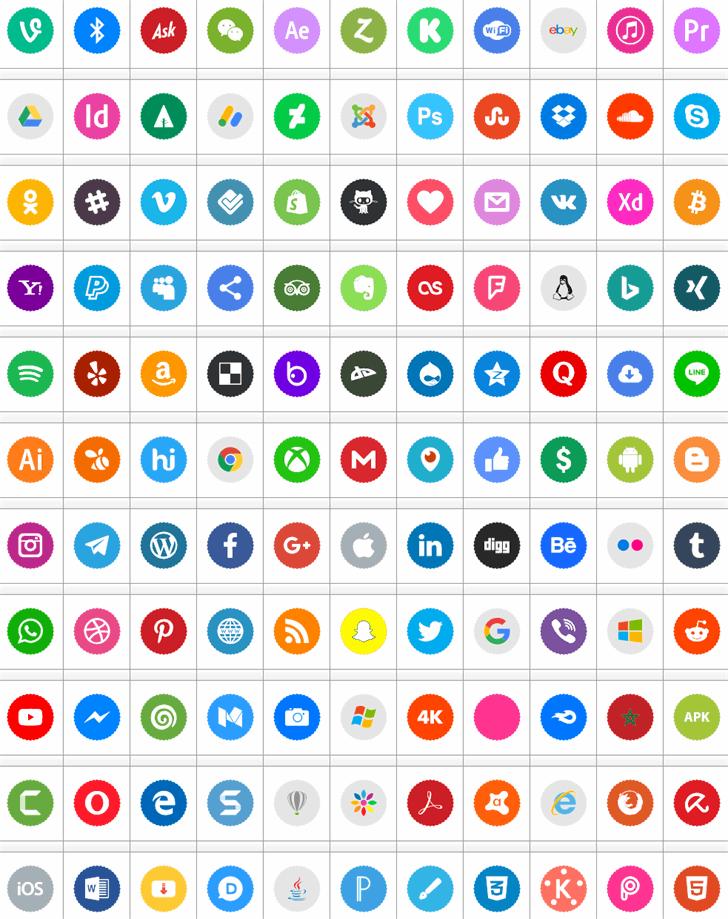 Icons Social Media 9 Font screenshot colorfulness