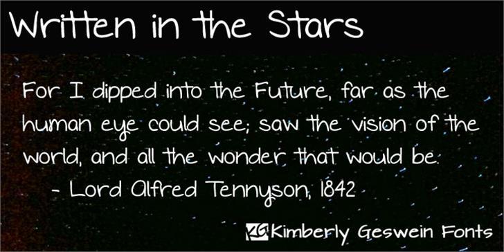 Written in the Stars Font screenshot font