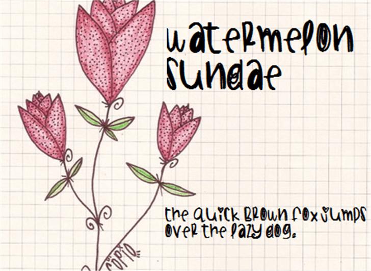 WatermelonSundae Font text flower