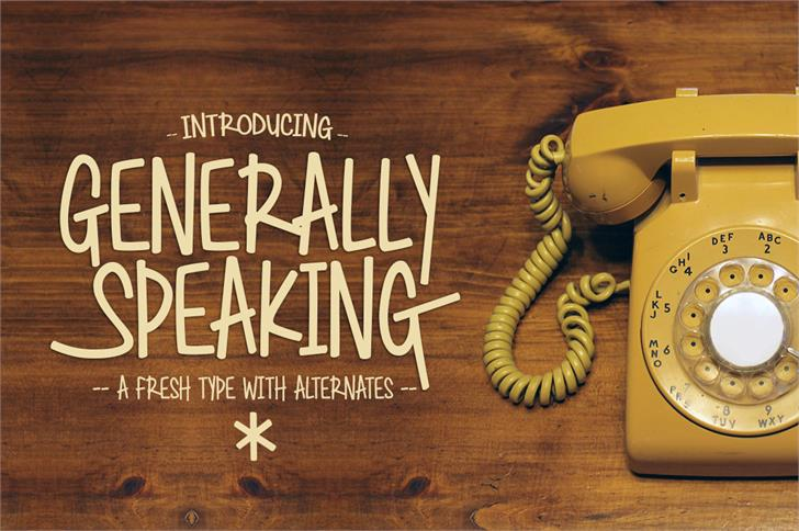 Generally Speaking Font book poster