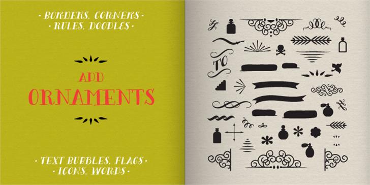 Bergamot Ornaments Font handwriting text
