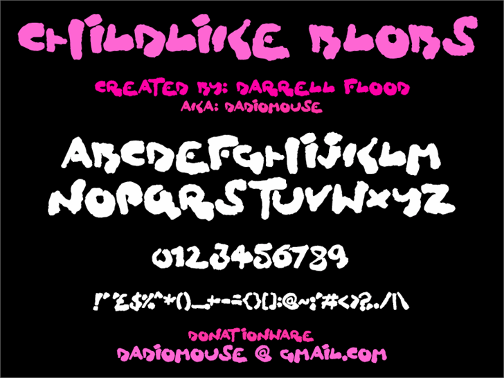 Childlike Blobs Font design text