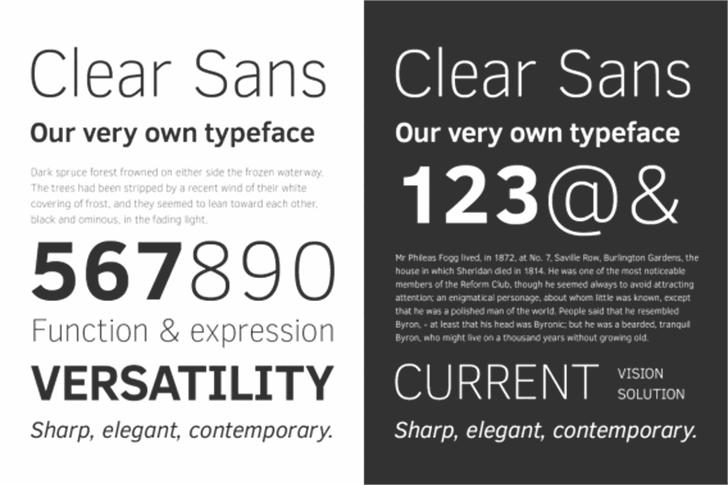 Clear Sans Font text poster