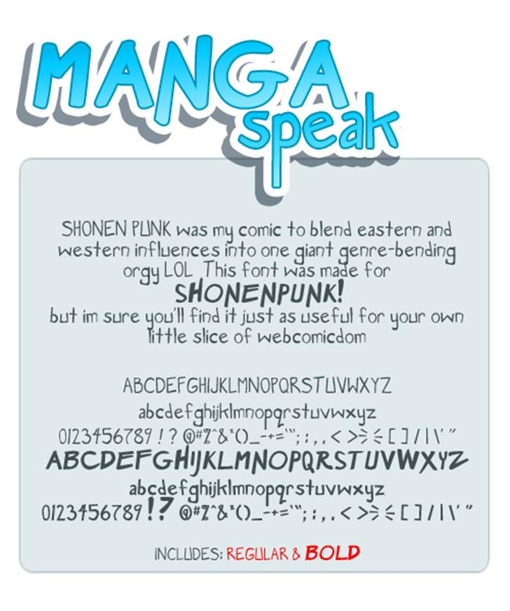 Manga Speak Font text design