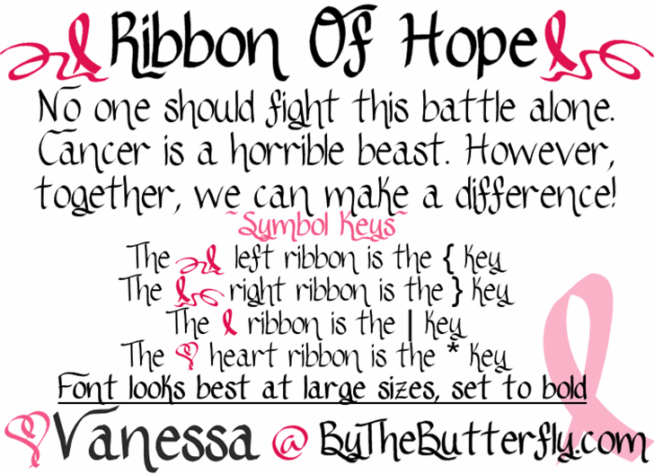 RibbonOfhope font by ByTheButterfly