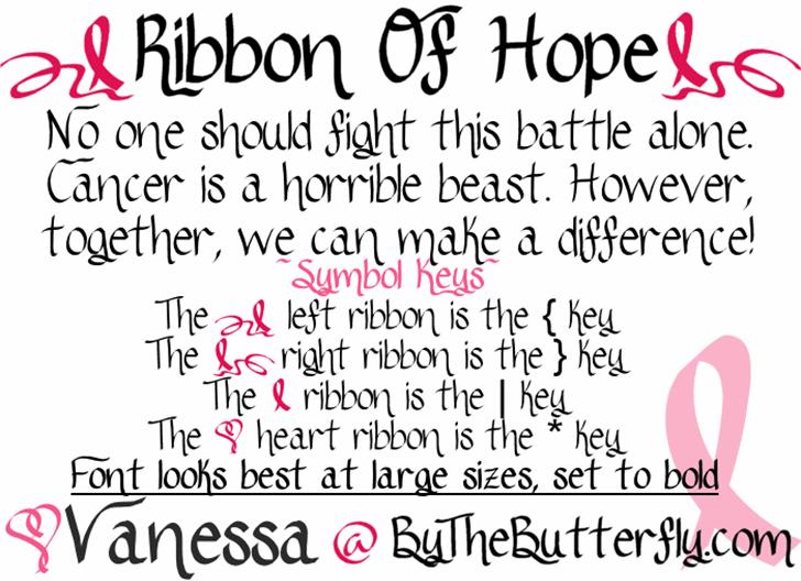 RibbonOfhope Font text handwriting