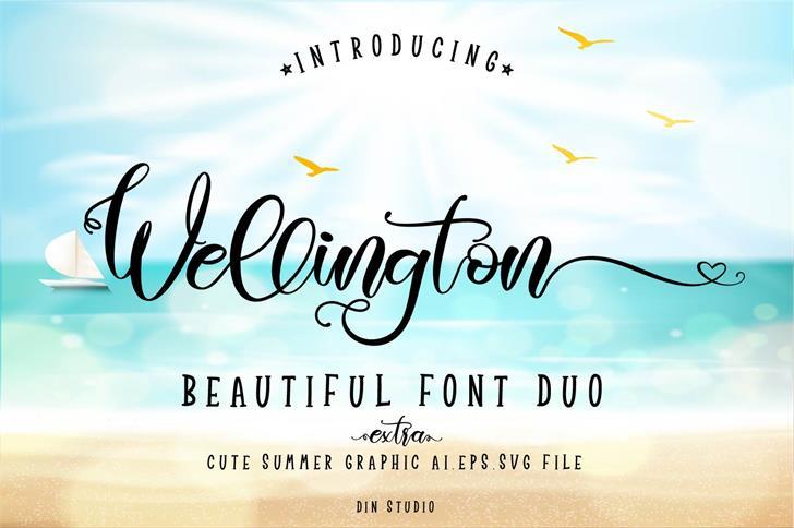 Wellington Regular Font text handwriting