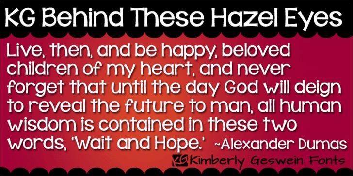 KG Behind These Hazel Eyes Font screenshot book