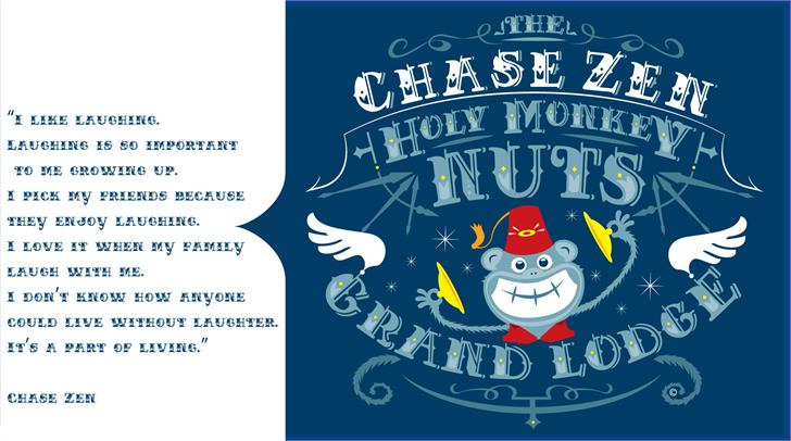 CHASE ZEN HOLY MONKEY NUTS Font cartoon illustration