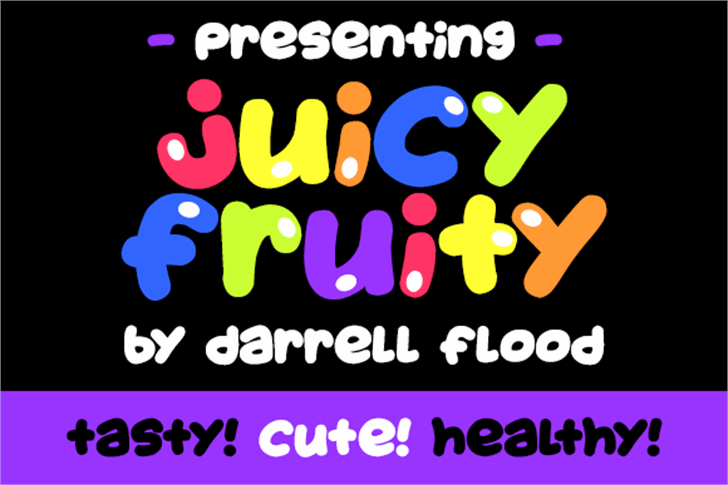Juicy Fruity Font cartoon graphic