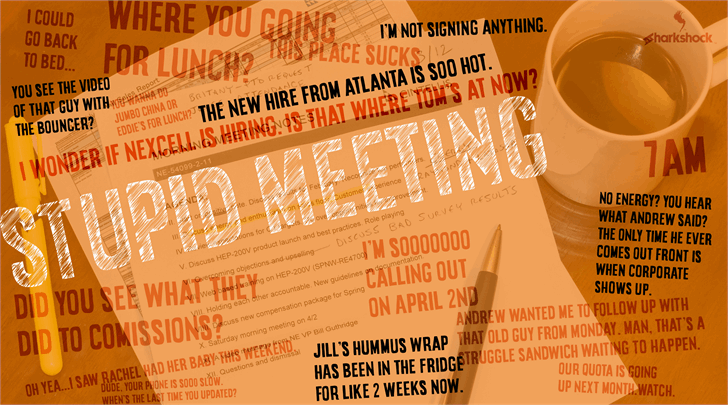 Stupid Meeting Font menu text
