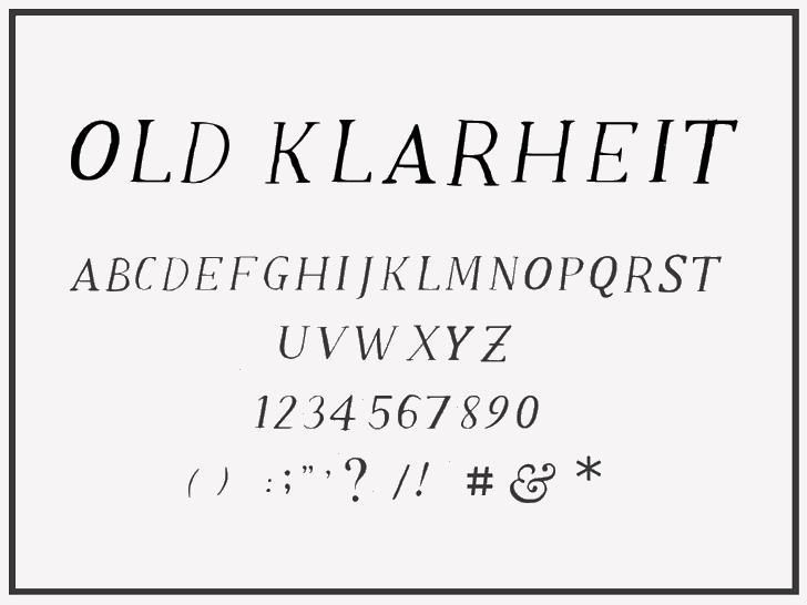 Old Klarheit Font handwriting typography