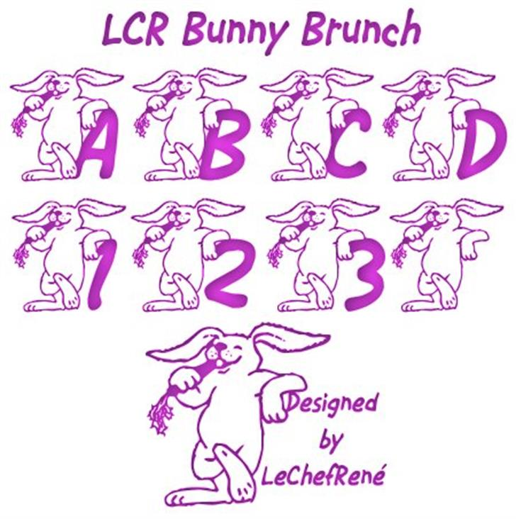 LCR Bunny Brunch Font drawing cartoon