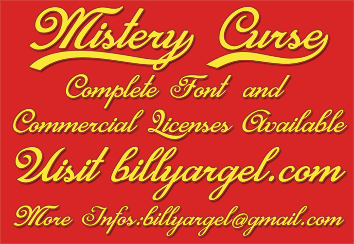 Mistery Curse Personal Use font by Billy Argel