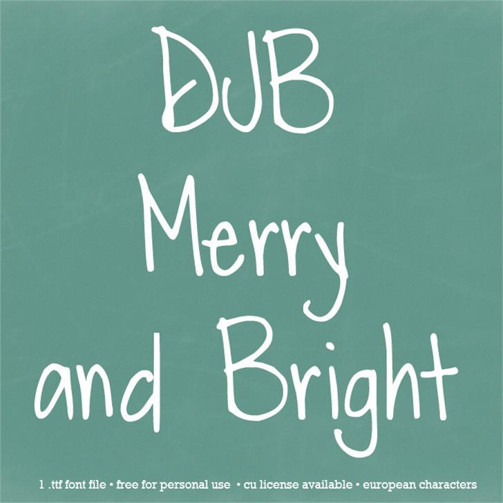DJB Merry Font blackboard handwriting