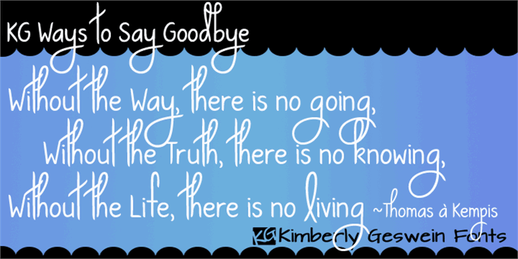 KG Ways to Say Goodbye Font text handwriting