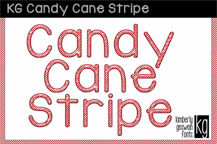 KG Candy Cane Stripe Font design graphic