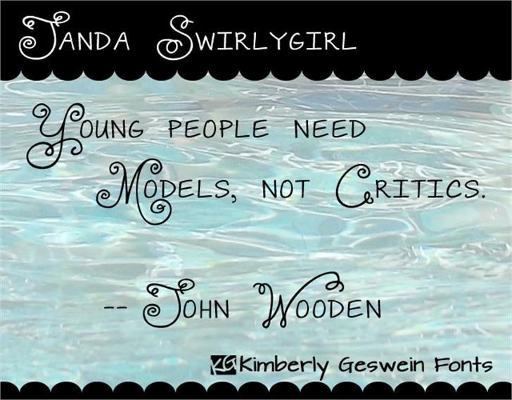Janda Swirlygirl Font text water