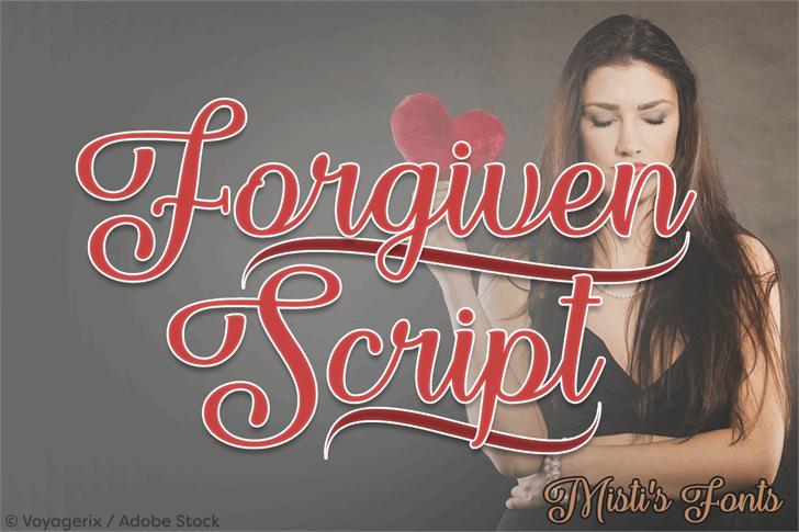 Forgiven Script Font human face poster