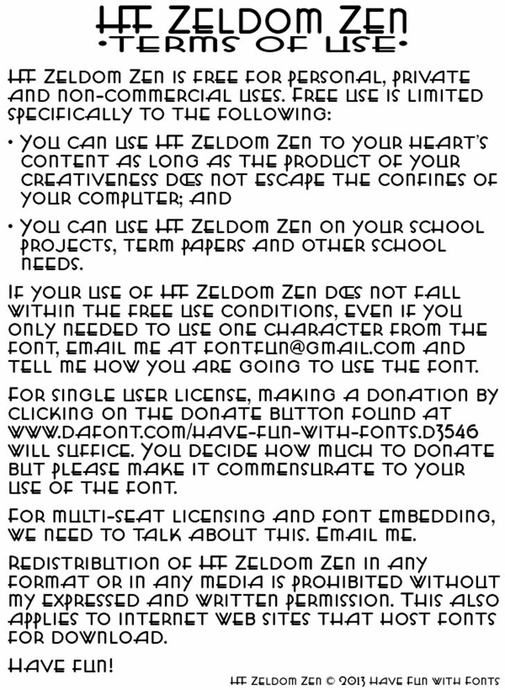 HFF Zeldom Zen Font text newspaper