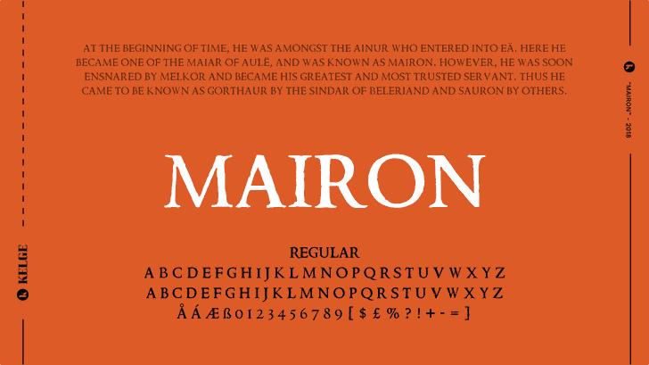 Mairon Font design text