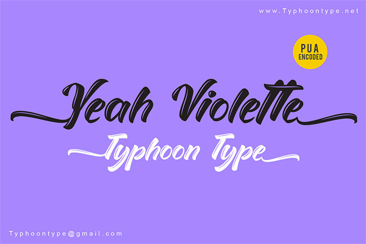 Yeah Violette - Personal Use font by Typhoon Type - Suthi Srisopha