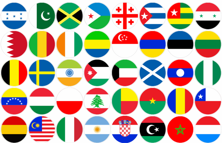 flags world color font by elharrak