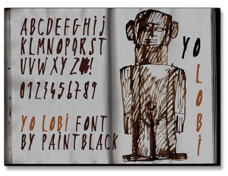 Yo Lobi Font drawing cartoon