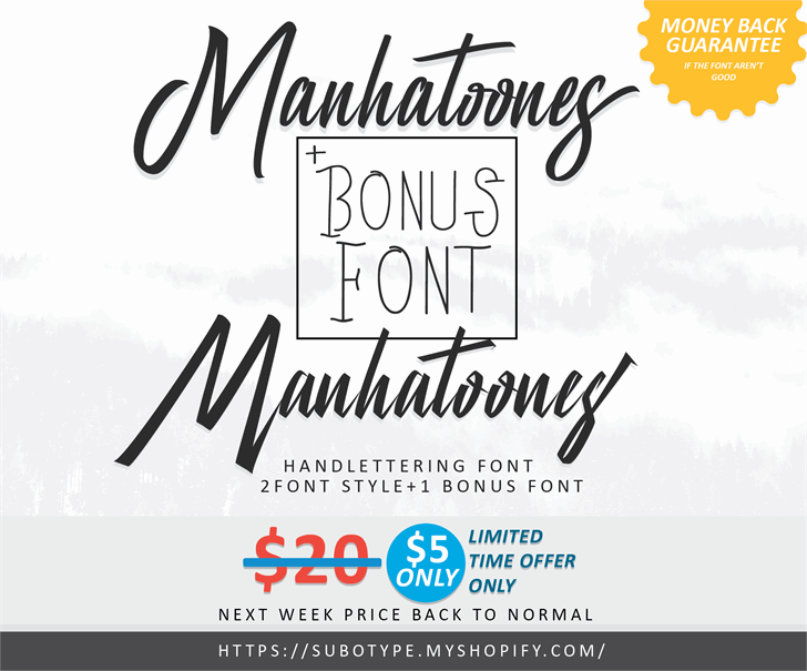 Manhatoones Script Font design text
