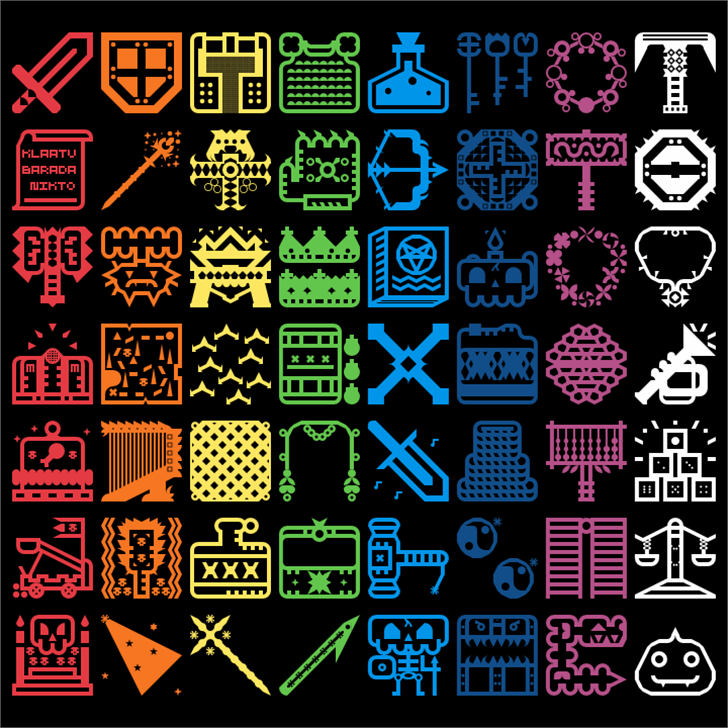 Donjonikons Font pattern text
