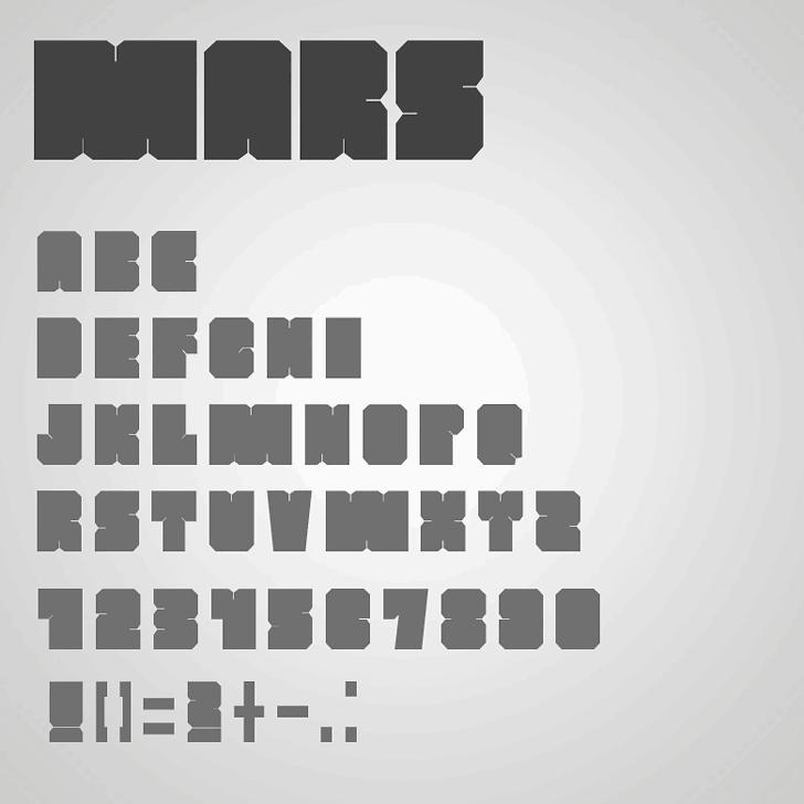 MARS Font design screenshot