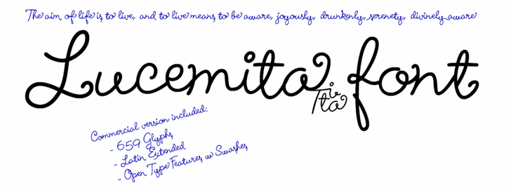 Lucemita Font handwriting text