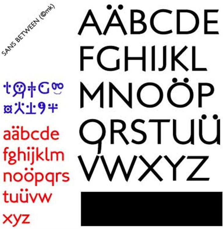Sans Between Font design graphic