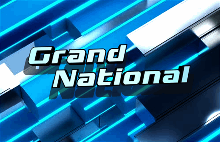 Grand National Font screenshot electric blue