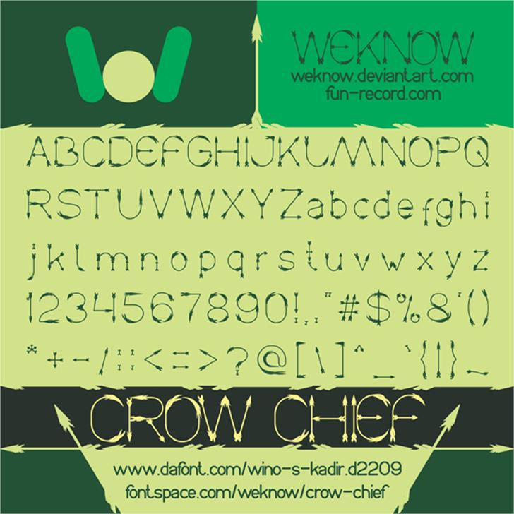 Crow Chief Font text book