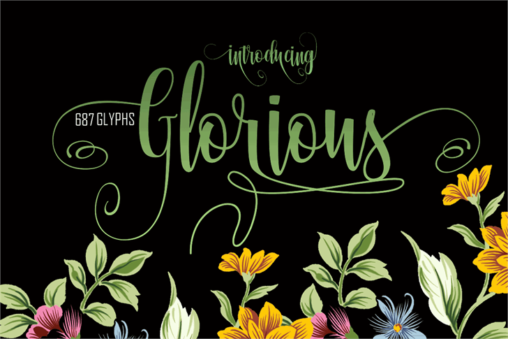 Glorious Free Font flower design