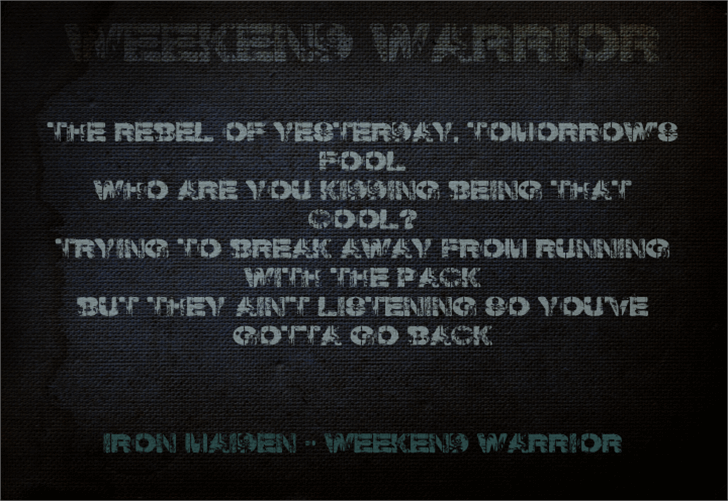Weekend Warrior Font screenshot menu