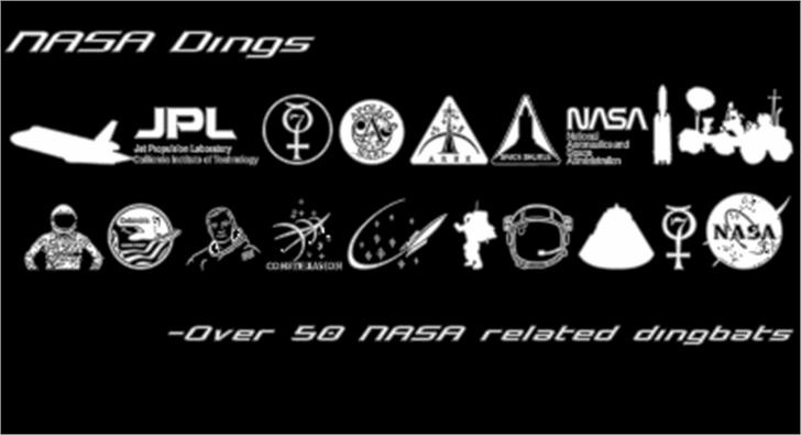 NASA Dings Font screenshot design