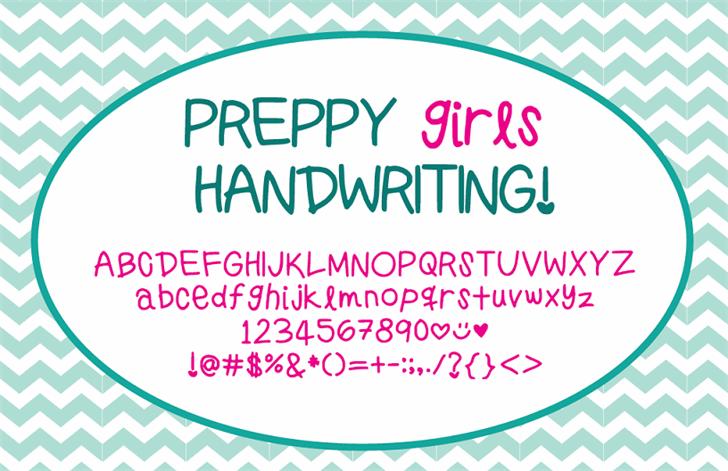 PreppyGirlsHandwriting Font design graphic