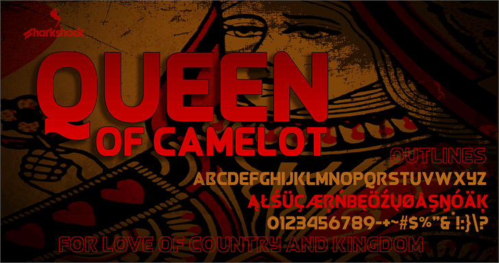 Queen of Camelot Font poster cartoon
