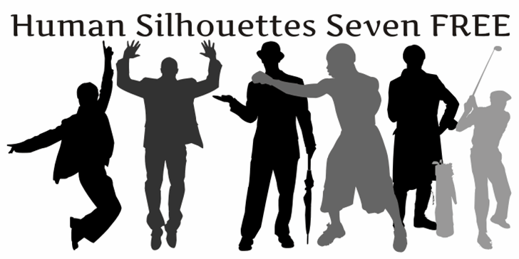 Human Silhouettes Free Seven font by Intellecta Design