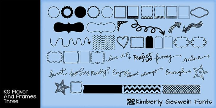 KG Flavor and Frames Three font by Kimberly Geswein