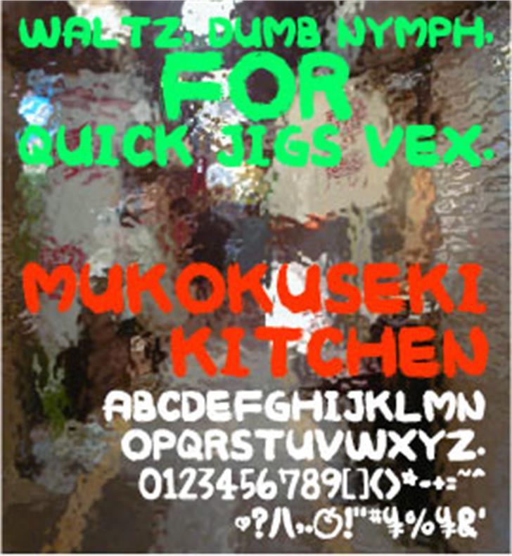 MUKOKUSEKI KITCHEN Font screenshot design